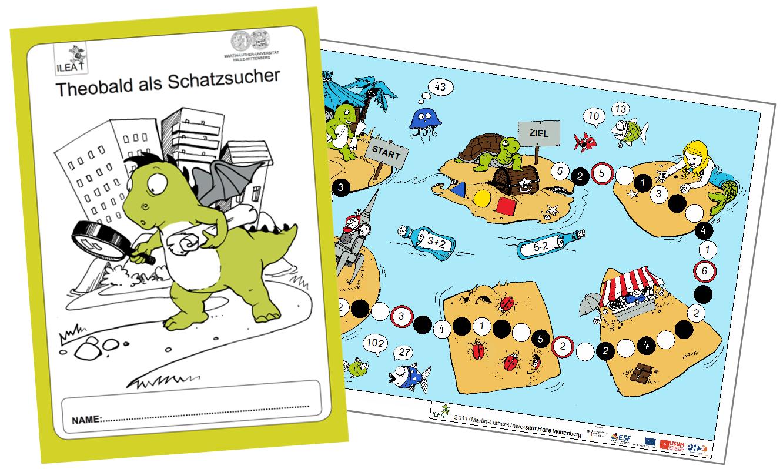 """Diagnostisches Lesebuch """"Theobald als Schatzsucher"""" und Spielplan der """"Reise zu den Zahleninseln"""""""